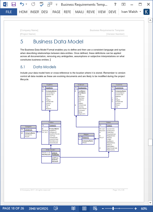 Business Requirements Specification Template – Microsoft Word Diagram Templates
