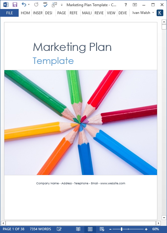 Marketing Plan Template   Page Ms Word Template And  Excel