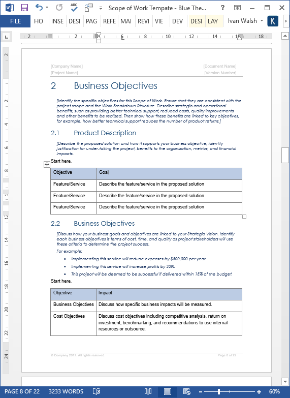 Scope Of Work Template | Scope Of Work Template Ms Word Excel Templates Forms