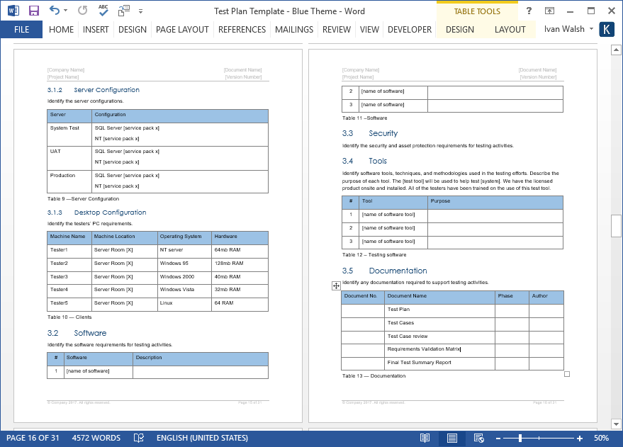 Test Plan – Download MS Word & Excel Template
