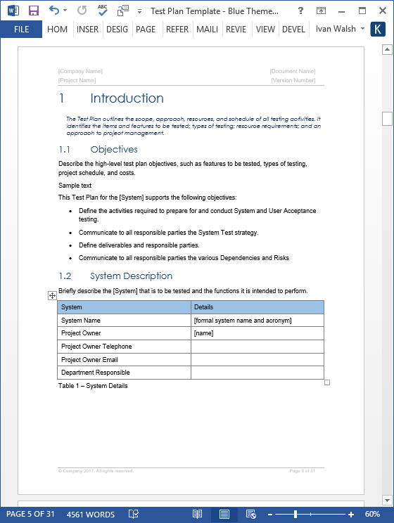 Test plan templates 29 page ms word 3 excel spreadsheets for Functional test plan template