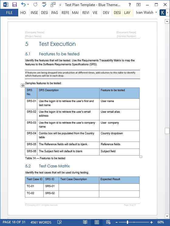 software test plan template word - test plan templates 29 page ms word 3 excel spreadsheets