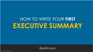 How to start writing your first executive summary
