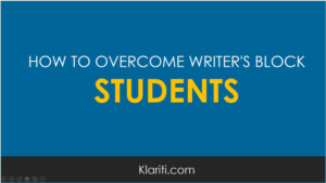 Students – how to overcome writer's block