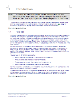 Bill of Material MS Word Template