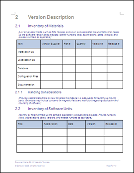Bill of Material Template - Inventory