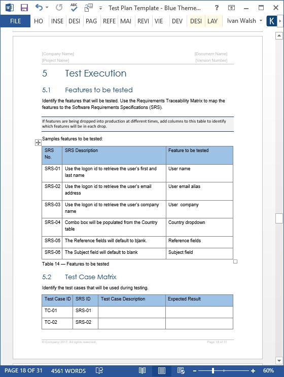 test plan template  u2022 my software templates
