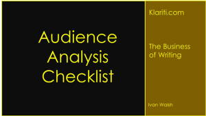 Audience Analysis Checklist For Marketing Plans