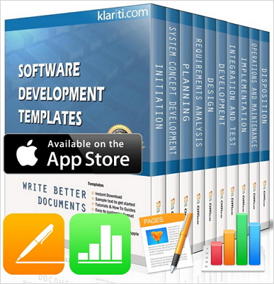 Software Development Templates (Apple iWork Pages and Numbers