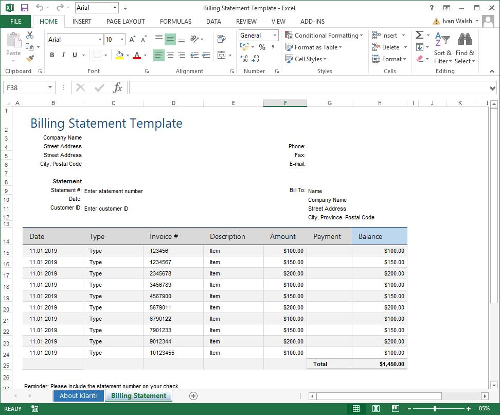 Billing Statement – Excel Template